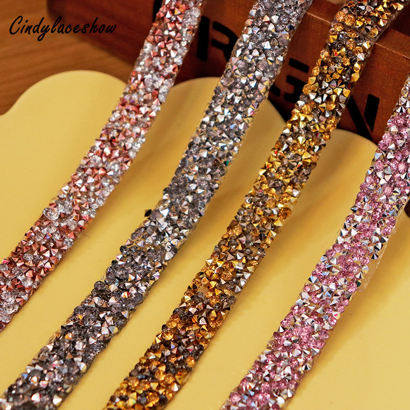 12mm Beaded Rhinestone Crystal Trim Iron On Diamond Ribbon Wrap Dress Sewing Accessories DIY Wedding Party Shoes Decoration