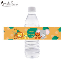 Safari Animal Water Bottle Labels Jungle Animal Water Bottle Labels Kids Birthday Party Decoration Supplies Baby Shower Decor(China)