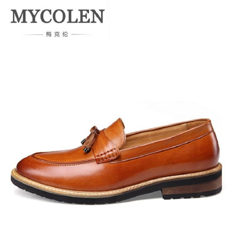 MYCOLEN New Fashion Men Dress Shoes Italian Mens Shoes Handmade Tassel Loafers Male Casual Shoes Black Brown schuhe herren 2017 new fashion italian designer formal mens dress shoes embossed leather luxury wedding shoes men loafers office for male