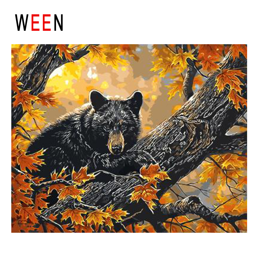 WEEN Autumn Bear Diy Painting By Numbers Forest Animal Oil Painting On Canvas Cuadros Decoracion Acrylic Wall Art Home Decor New in Painting Calligraphy from Home Garden