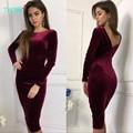 TAOVK 2016 новая мода Русский стиль Осень Женщины Сексуальное Bodycon Velvet Dress 3 цвета Круглый шею длинным рукавом Женщины платья