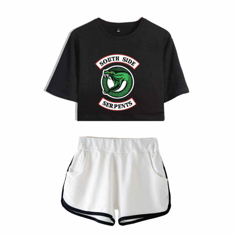 WEJNXIN Summer Riverdale South Side Serpents Two Piece Set Women Cotton T shirt Riverdale TV Show Shorts Crop Tops + Shorts Pant