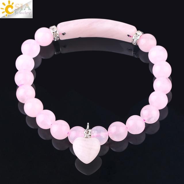 Фото браслет csja из натурального камня с розовыми кристаллами для