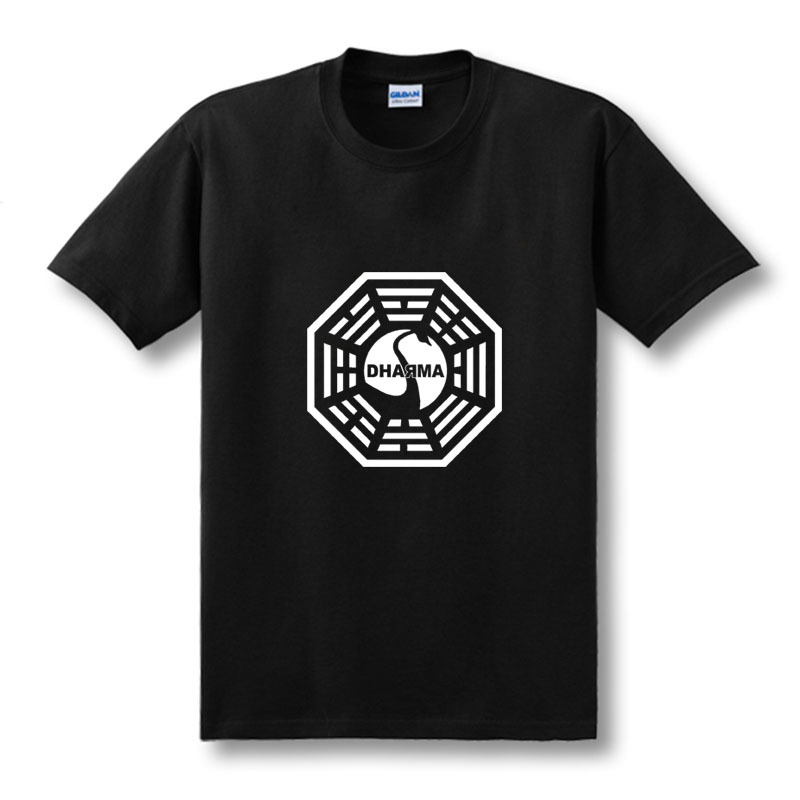 American TV Series LOST Dharma Initiative   T     Shirt   Men Fitness Cotton Short Sleeve   T  -  shirt   Tops Tees Camisetas Masculinas XS-XXL