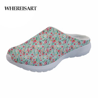 WHEREISART Fashion Summer Beach Sandals Women Guitar instrument Print Breathable Mesh House Slippers Woman Flats Sandals Casual