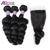 Allove Hair Brazilian Hair Weave Loose Wave With Lace Closure Remy Hair Bundles 3Bundles Human Hair