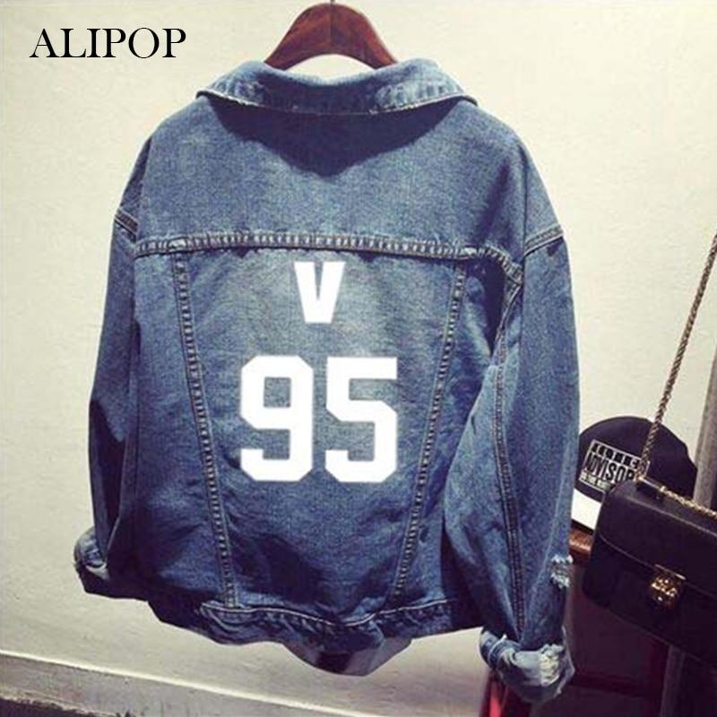 ALIPOP KPOP BTS Bangtan Boys 7 Member Album <font><b>Denim</b></font> Jacket K-POP Casual Jeans Coat 2017 New Fashion Design For OutWear JK007