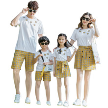 summer family matching clothes plaid mother daughter dresses 2pcs mommy and me dad son clothing sets look outfits