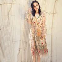 2018 Spring Star Style Floral Embroidery Dress Sexy Folk Style Lace Empire Vestdio High Quality Stylish