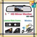 De alta Resolução Sem Fio 5 HD LCD Monitor de Espelho Para a Europa Moldura Da Placa de Licença Do Carro Retrovisor Invertendo Câmera Sistema de Estacionamento