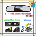 High Resolution Wireless 5 HD LCD Mirror Monitor For Car Europe License Plate Frame Rearview Reversing Camera Parking System