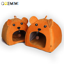 Foldable Pet House Dog Bed Bear Shape With Pad Cute Kennel Nest Warm Sofas Cat Sleeping Products