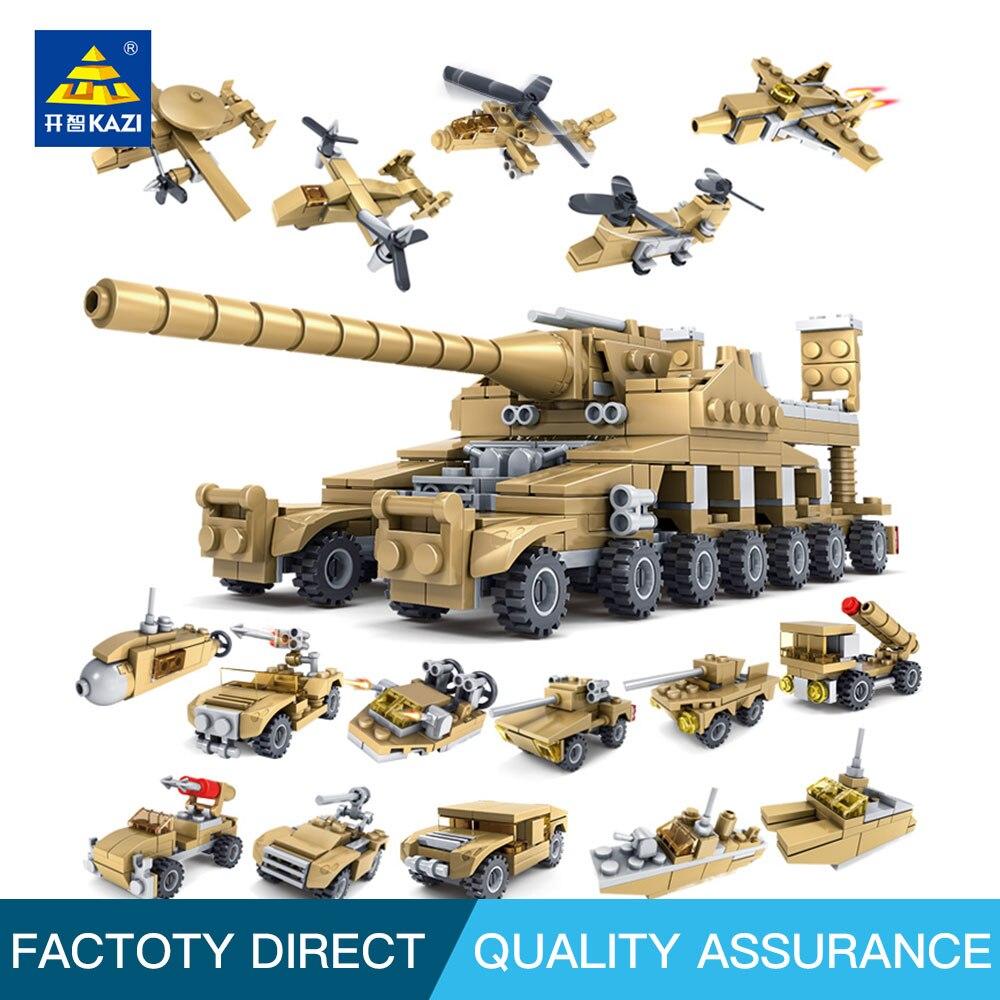 Kazi 84031 Byggnadsblock Leksaker Militära vapen 16 i 1 Supertankar Kompatibla med självlåsande tegelstenar för barn Födelsedag