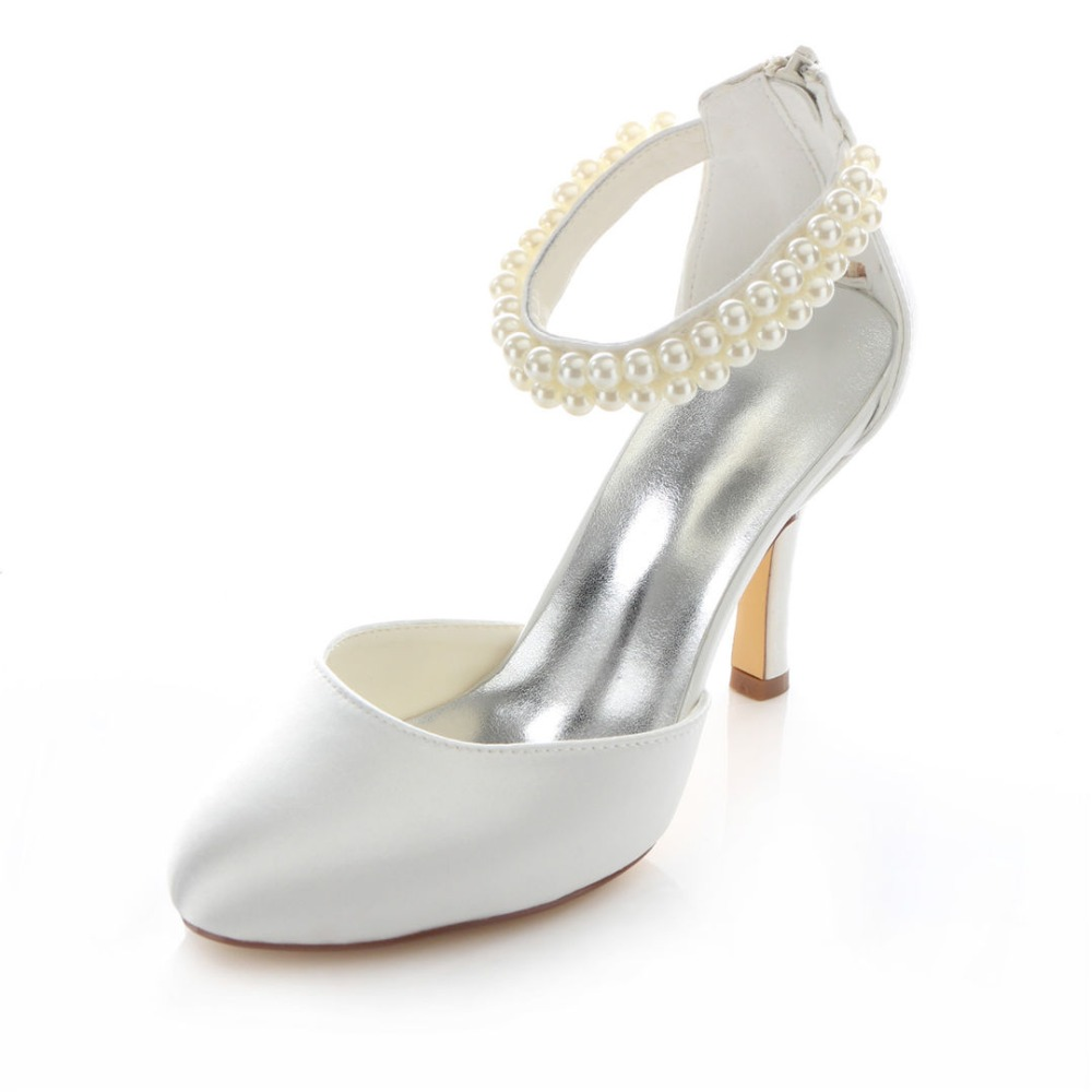 Round Toe font b Women s b font Wedding High heeled Court Shoes Pumps Wedding Heels