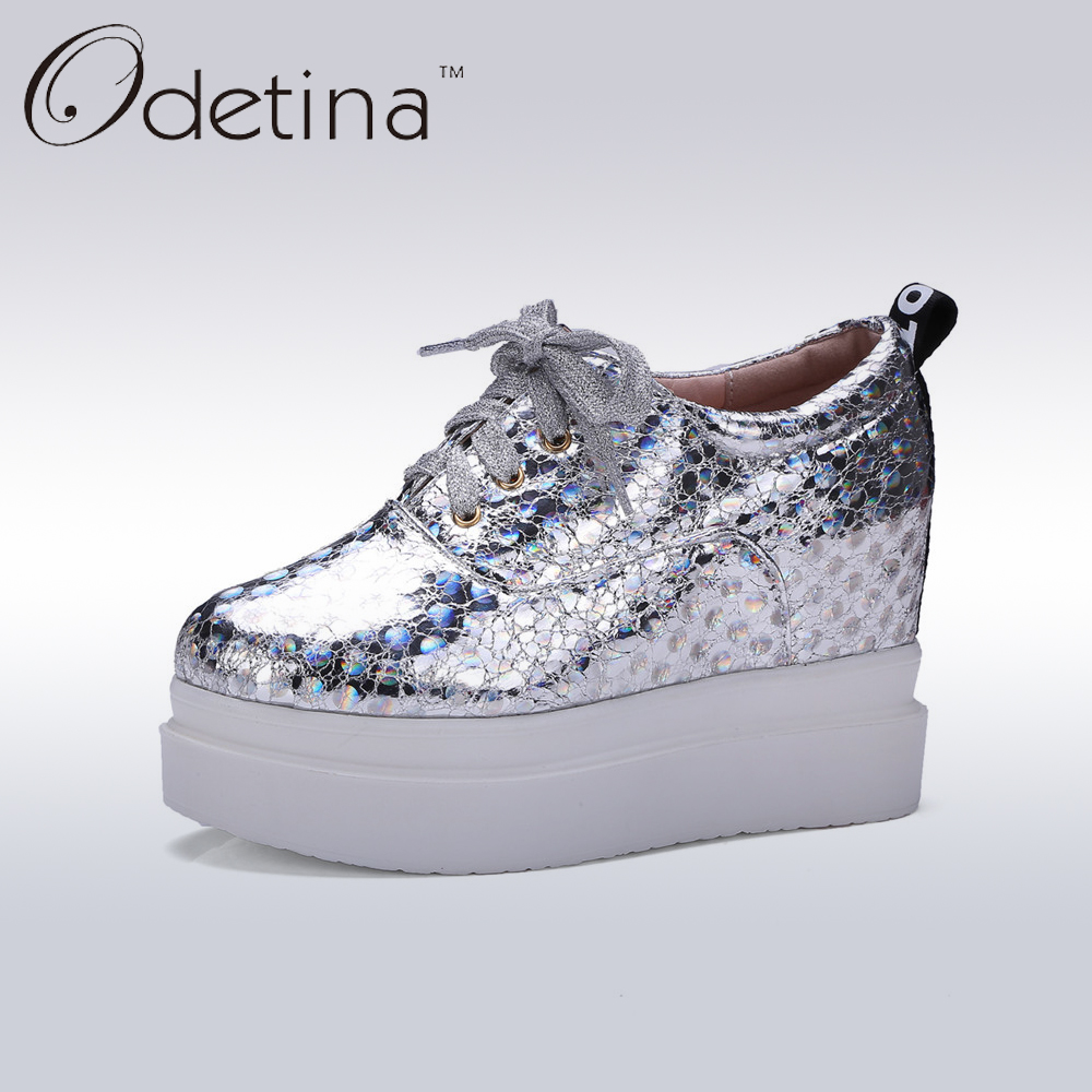 ФОТО Odetina Hidden Heel Women Wedges Platform Shoes Fashion Silver Women Height Increasing Shoes Lace Up 2017 Ladies Casual Shoes