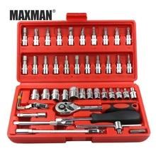 MAXMAN 46PCS Socket Ratchet Torque Wrench Extension Bar Drill Bits Automobiles Repair Tools Kit Multifunction Hand Tool