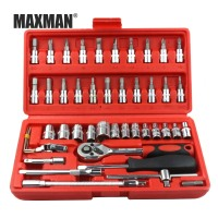 MAXMAN 46PCS Socket Ratchet Torque Wrench Extension Bar Drill Bits Automobiles Repair Tools Kit Multifunction Hand Tool Kit