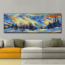 QKART Canvas Painting Wall Art  Oil Snow Mountain Forest Picture for Living Room Friendship Home Decor No Frame