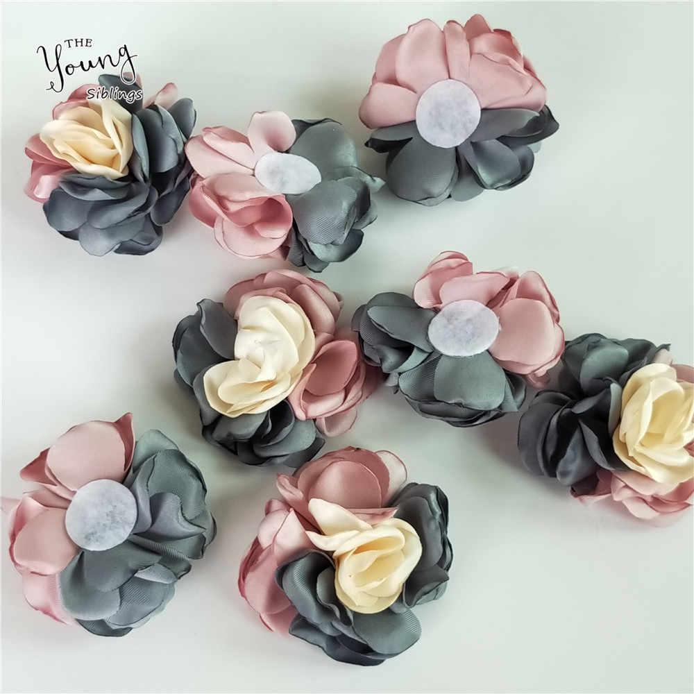 Bonito Rose Flor Heads para o Casamento Casa decoração 5.5 centímetros Flor Artificial DIY Scrapbooking Casamento Sapatos Chapéus Acessórios