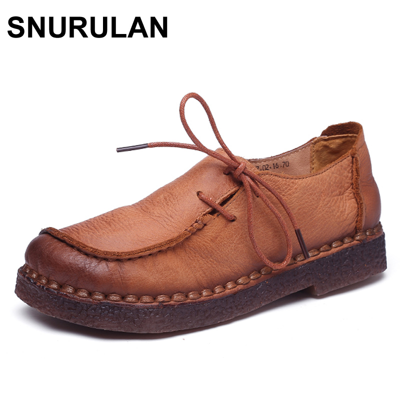SNURULAN Handmade vintage women shoes genuine leather female moccasins loafers soft Comfortable casual shoes flats Plus Size camel active 2018 new authentic brand casual men genuine leather loafers shoes handmade moccasins shoes outdoor flats plus size