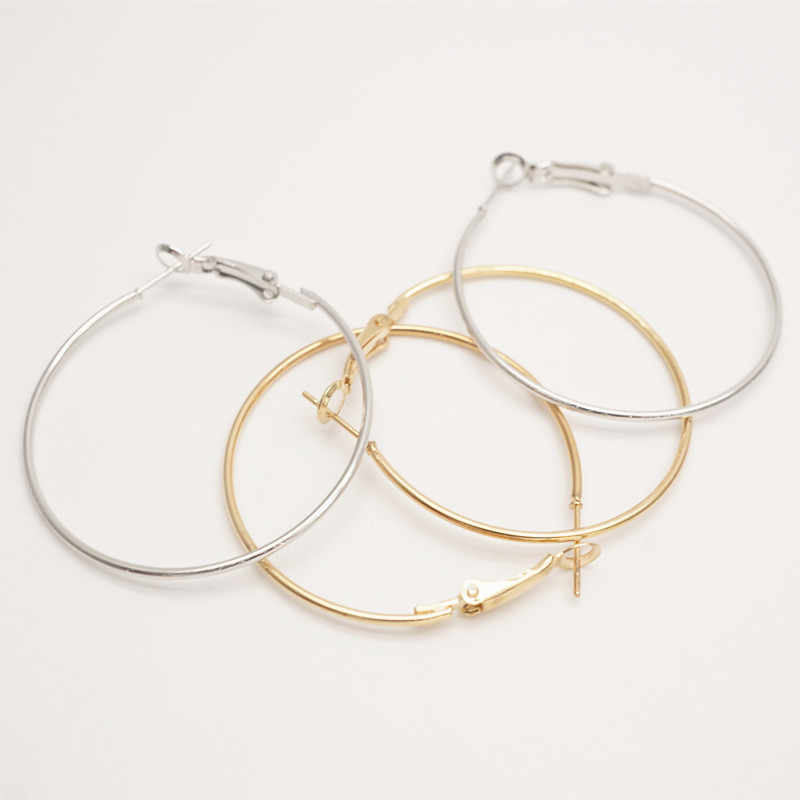 40mm Dia Kc Gold Platinum Earrings Big Circle Ear Wire Hoops