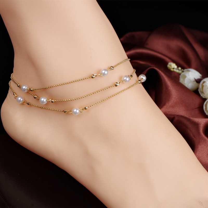 New Occident Women Multilayer Chains Pearls Anklets Summer Accessories Foot Bracelets