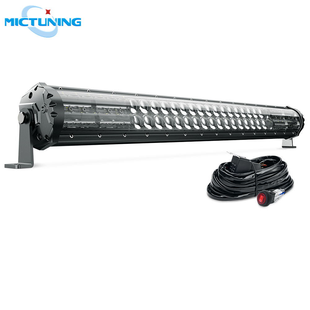 MICTUNING exclusif M2 double rangée 31 ''barre de lumière LED automatique tout-terrain conduite lampe de travail avec faisceau de câbles pour Jeep SUV ATV UTV camion