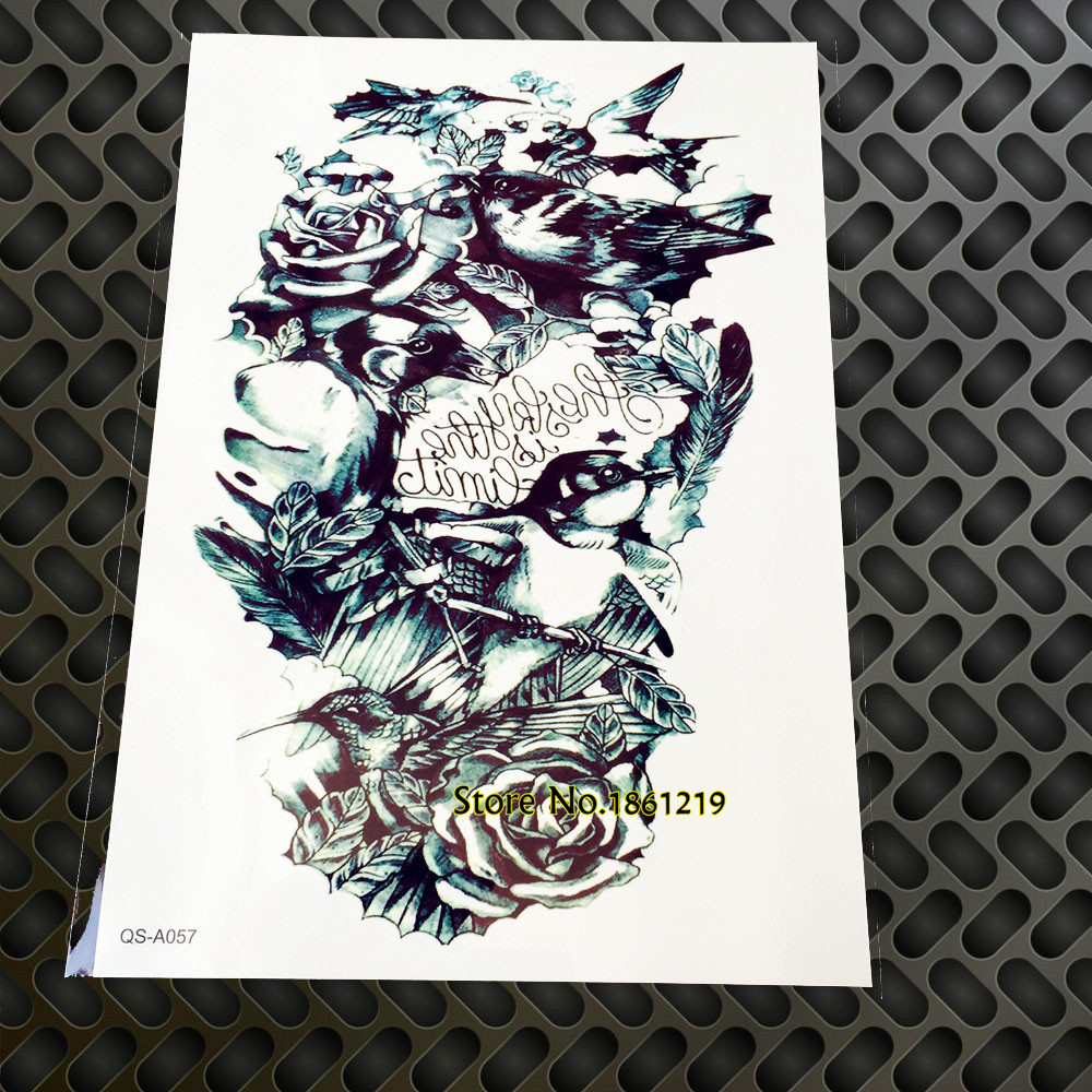1pc 15 21cm Large Roses Crow Evil Eyes Women Birds Temporary Tattoo Stickers Men Gqs A057 3d Totem Harajuku Sexy Women Body Art Art Caddy Art Boardart Definition Aliexpress