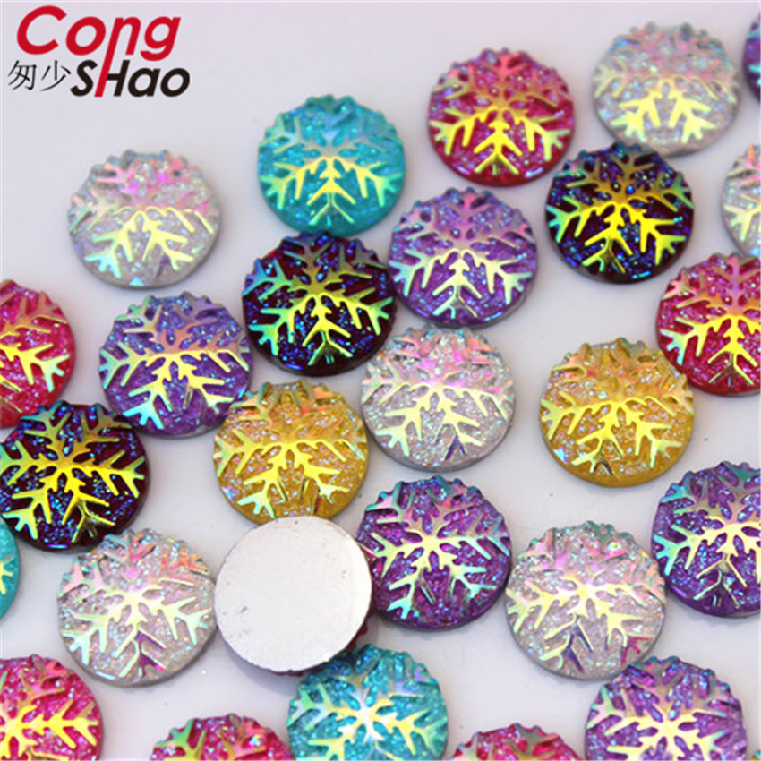 Cong Shao 150PCS 12mm AB Colorful Round Snowflake stones and crystals  flatback Resin Rhinestone applique costume 75c54dafdd35