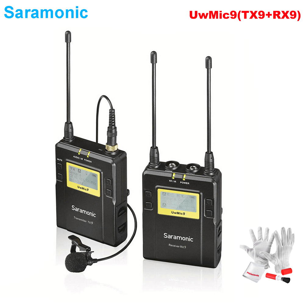 Saramonic UwMic9(RX9+TX9) 96-Channel Broadcast UHF Wireless Lavalier Microphone System for Sony Canon Nikon DSLR & Camcorders high end uhf 8x50 channel goose neck desk wireless conference microphones system for meeting room