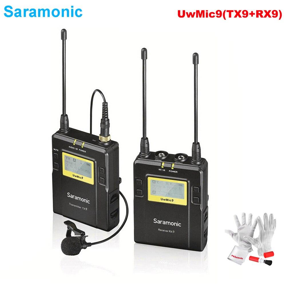 Saramonic UwMic9 (RX9 + TX9) 96-canal de Transmissão UHF Sistema De Microfone De Lapela Sem Fio para Sony Canon Nikon DSLR & Filmadoras