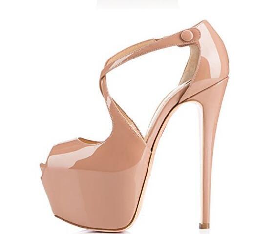 Apoepo Women High Heels 2018 Sexy Peep Toe Platform Pumps Nude Patent Leather Cross-strap Dress Heels Cutouts Lady Shoes apopeo nude patent leather peep toe