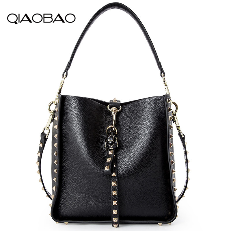 QIAOBAO Genuine Leather Famous Brand Rivet Crossbody Bags For Women Messenger Shoulder Bag Luxury Handbags Women Bags Designer 2017 luxury handbags black women bags designer women s bag rivet chain messenger shoulder bags female skull clutch famous brand