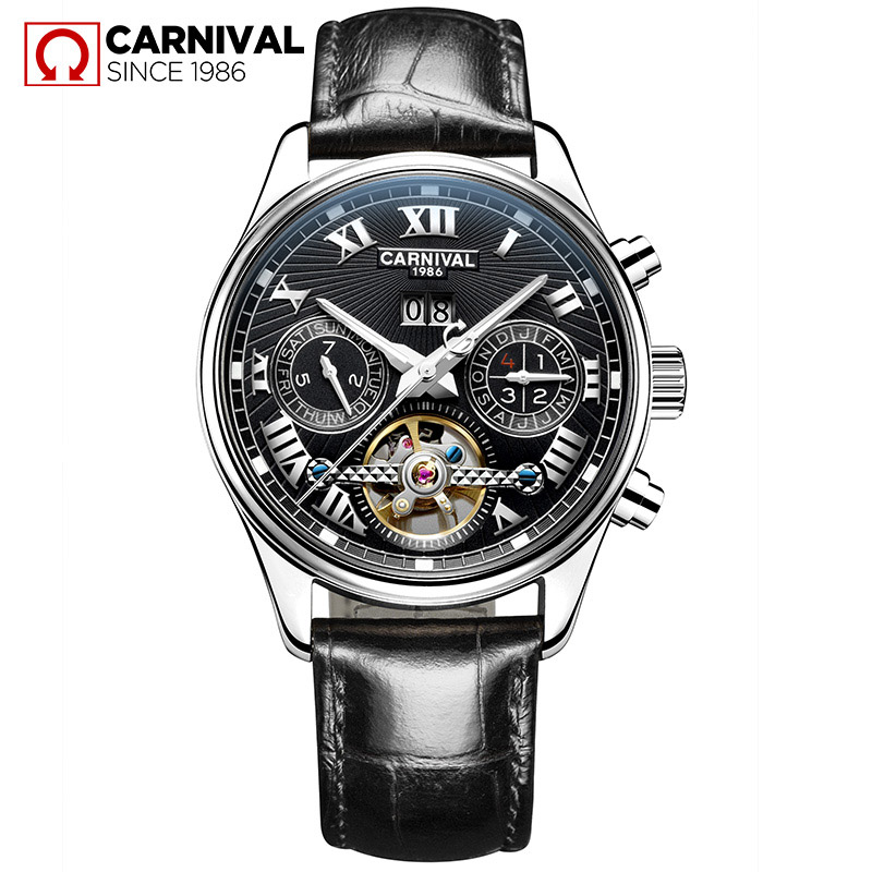 Classic Tourbillon Wrap Mens Watches Top Brand Luxury Automatic Watch Golden Case Calendar Male Clock Black Mechanical Watch