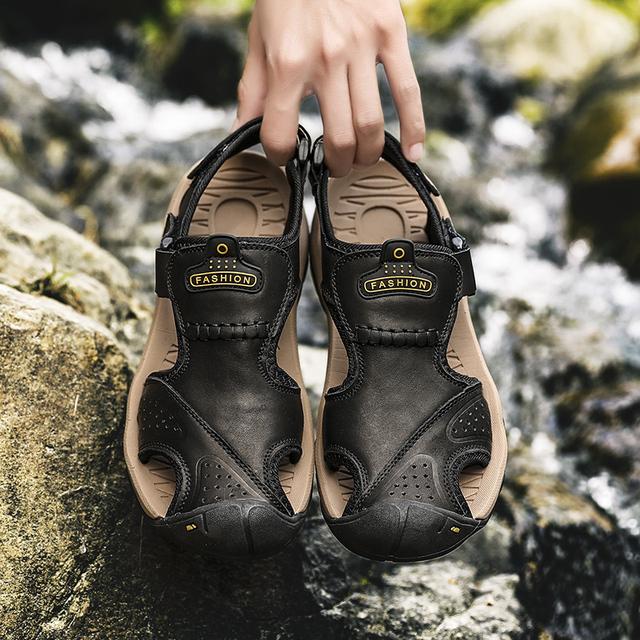 Summer Sandals Men Genuine Leather Casual Shoes Man Roman Style Beach Sandals Slippers size 39-46 sandalias hombre 2019 7238m
