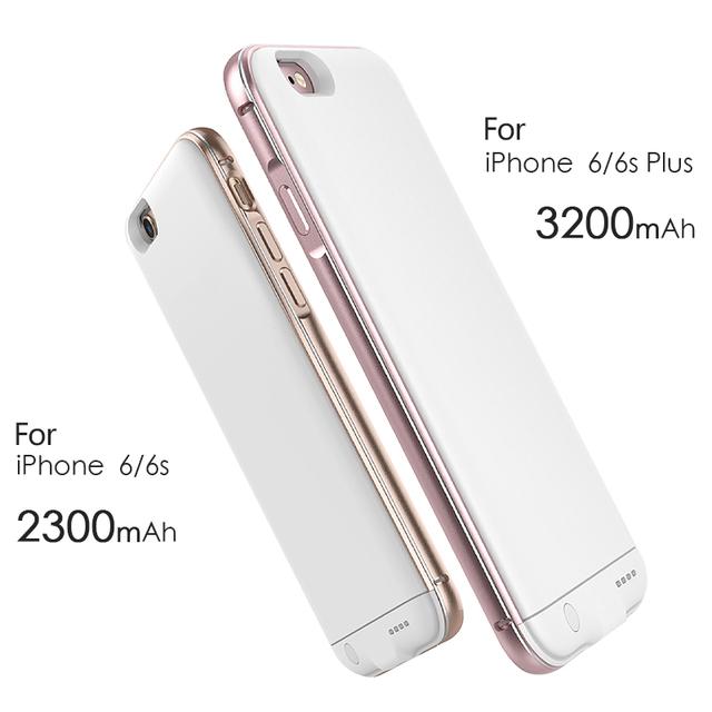 Ultra delgado de energía prolongada casos para iphone 6 6 s plus 5.5 pulgadas cajas de baterías de carga caja de batería del iphone 6 6 s 4.7 pulgadas $ number pulgadas 1