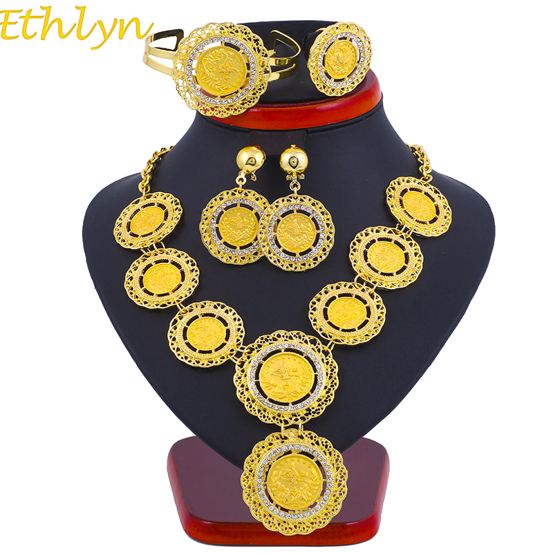 Ethlyn Necklace Earrings Ring Bangle Big Coin Jewelry Sets Gold Color Turkey Coins Arab Gifts Turks Africa Party S122Ethlyn Necklace Earrings Ring Bangle Big Coin Jewelry Sets Gold Color Turkey Coins Arab Gifts Turks Africa Party S122