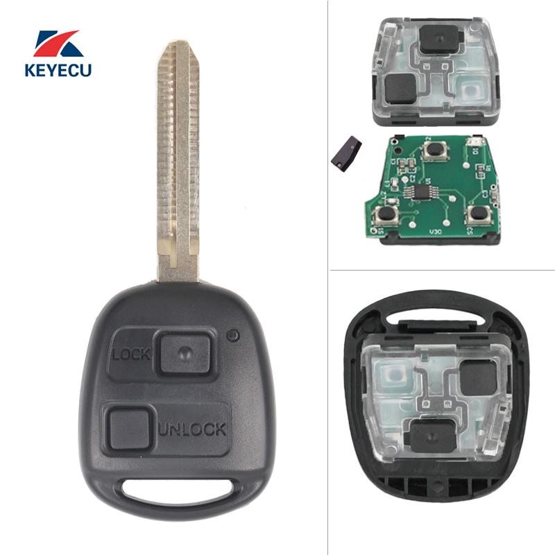 KEYECU Remote Car Key Fob 304MHz 4C for Toyota Tarago Avensis RAV4 Corolla Landcruiser 100 P/N:60030 or 60040 Free programming