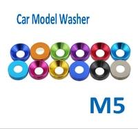 10pcs M5 Charcoal Gray Aluminum Alloy DIY Gasket Flat Round Countercunk CSK Head Anodic Oxidation Car Model Washer