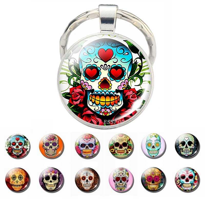 Сахарный череп брелок мексиканское народное искусство сахарный Стеклянный Череп Кулон металлический брелок День мертвых ювелирных изделий подарок на Хэллоуин