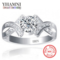 Enviar Certificado de Plata Verdadera 100% 925 anillo de Plata Anillo de Sona 1 Quilates CZ Anillos de Compromiso de Bodas de Diamante Para Las Mujeres Y500011