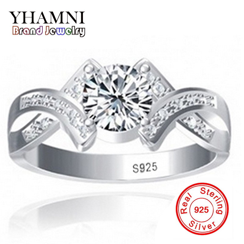 Envoyé argent certificat réel 100% 925 en argent sterling anneau sona 1 carat cz diamant de mariage bagues de fiançailles pour femmes y500011
