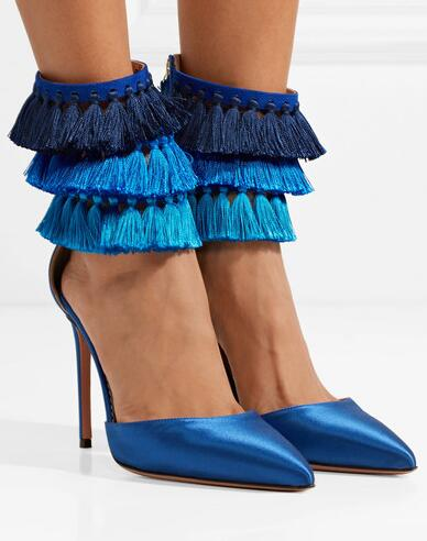 New Summer Women Fashion 4 Inches Royal Blue Color Pointed Toe 3 Layers Tasseled Ankle Satin Pumps Stiletto Heel Party Pumps цена 2017