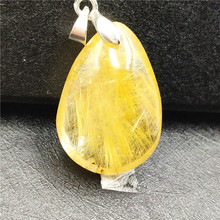 Natural Gold Rutilated Quartz Pendant Rectangle Gemstone Party Anniversary Gift 27x19x10mm Crystal Accessories Stone