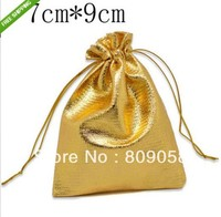 Low-cost !!! Free Shipping 100pcs Gold Plated Satin Fabric Gift Bags With Drawstring 9x7cm