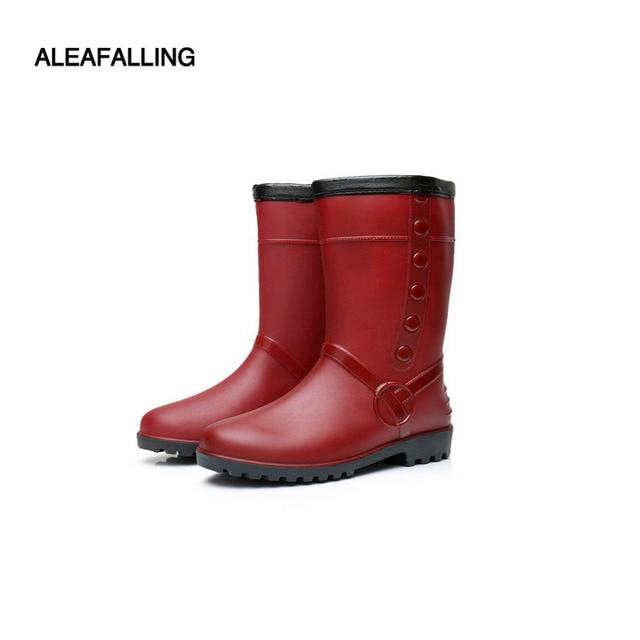 quality design 3435c b2dab US $20.68 10% di SCONTO|Aleafalling Addensare impermeabile stivali da  pioggia impermeabili scarpe invernali stivali di gomma di acqua delle donne  da ...