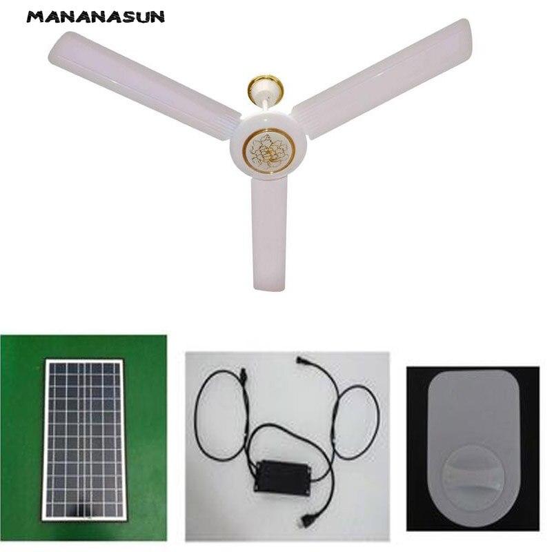 DC солнечной потолочный вентилятор на солнечных батареях Охлаждающие вентиляторы + 40 Вт 50 Вт солнечные панели + AC/DC преобразователь работает ...