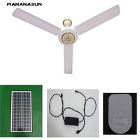 dc solar ceiling fan solar powered cooling fans + 40W 50W solar panel+ac/dc converter runs 24h working