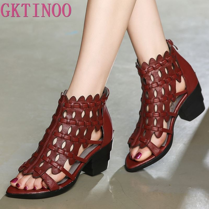 GKTINOO 2019 New Summer Retro Style Hand woven Real Leather Sandals Thick Heel Soft Bottom Women