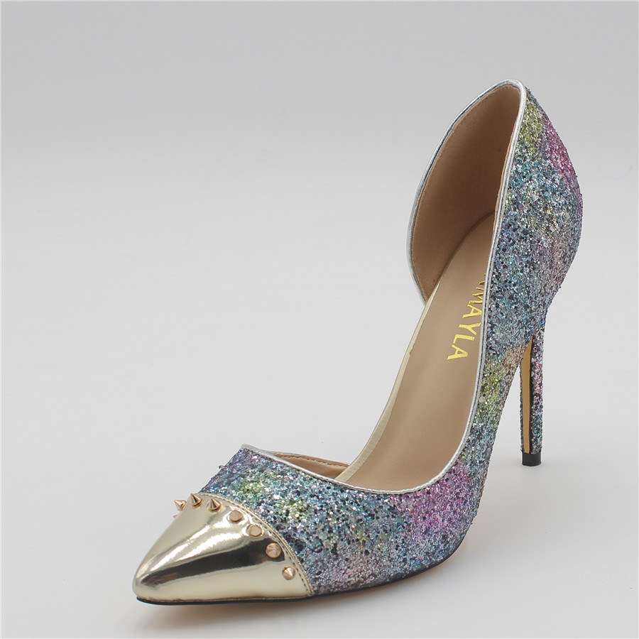 77c415ea7 ENMAYLA High Heels Glitter Shoes Women Pointed Toe Rivets Pumps Sexy Blue  Pink Bling Shoes Woman Party Wedding Ladies Shoes
